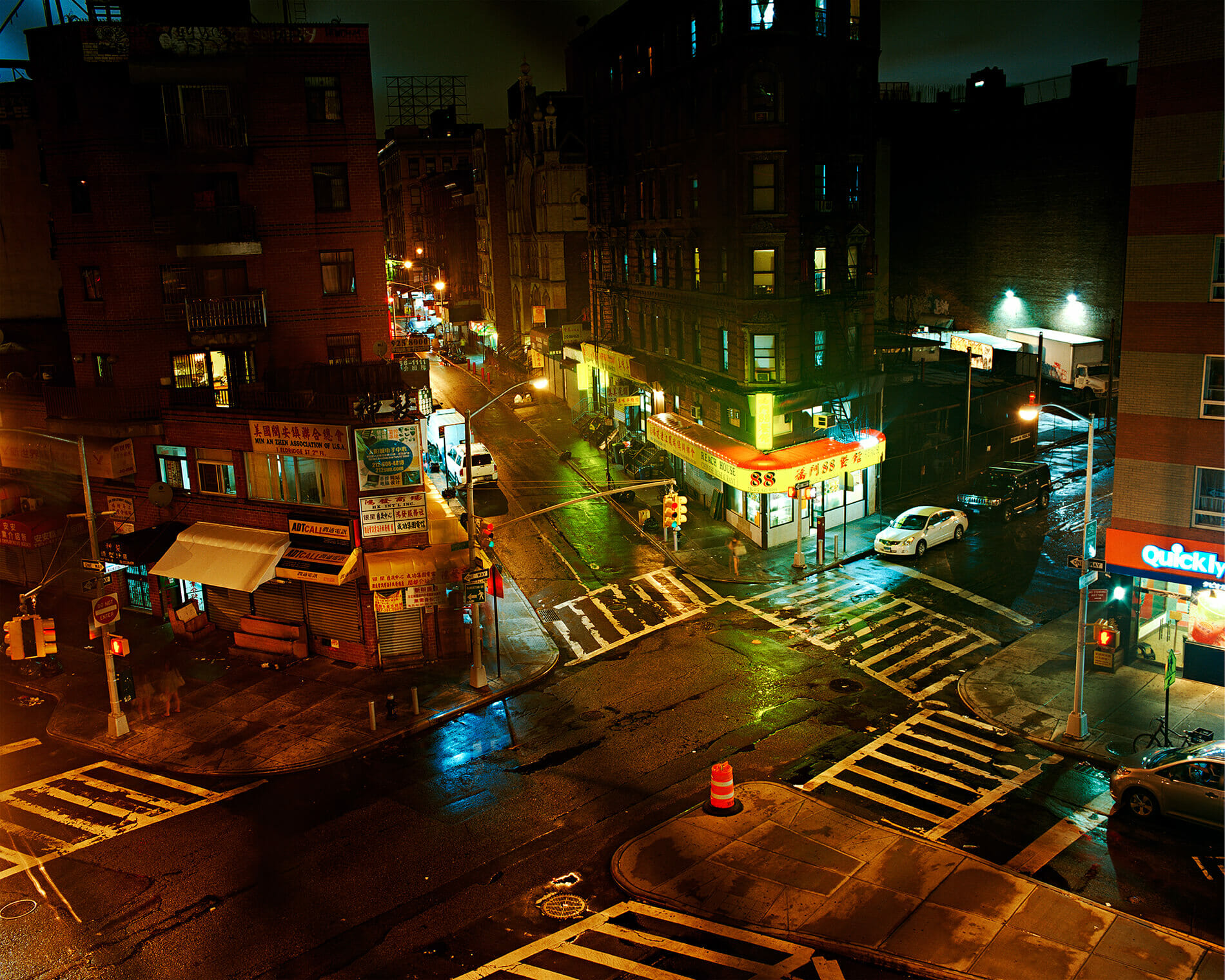 Night shot of Lower East Side intersection