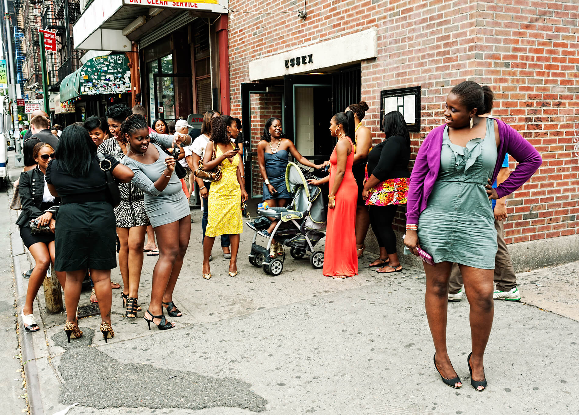 Crowd dressed up for sunday brunch in Lower East Side, New York.