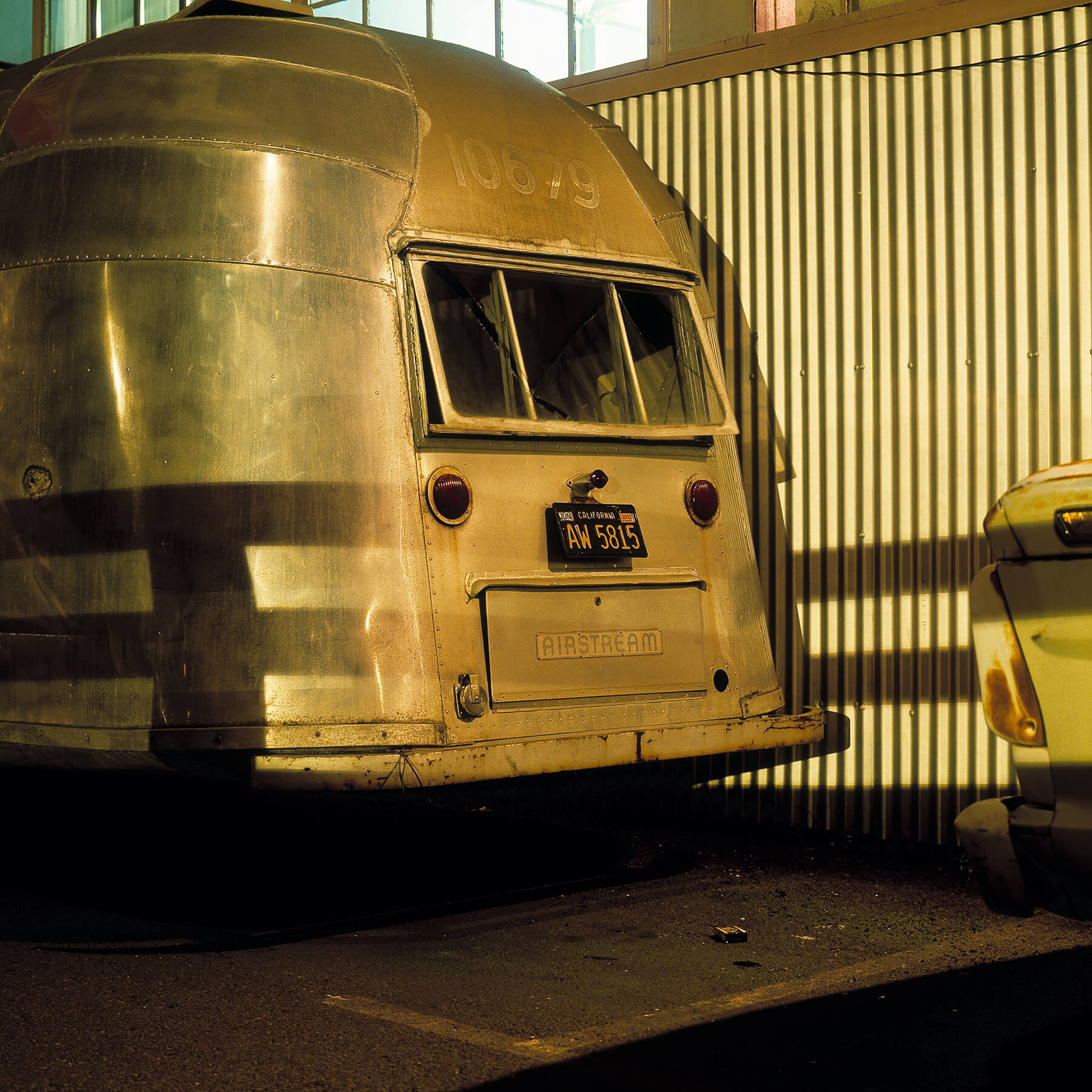 Vintage airstream at night