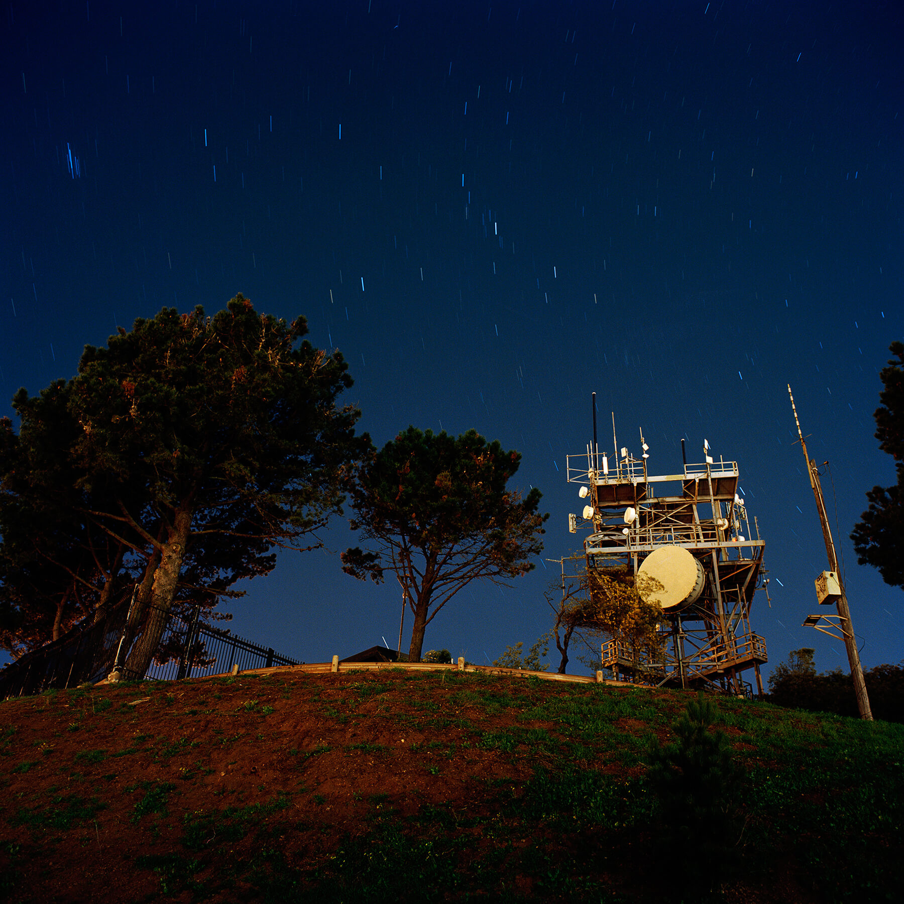 Radio tower on top of Bernal Heights Hill in San Francisco