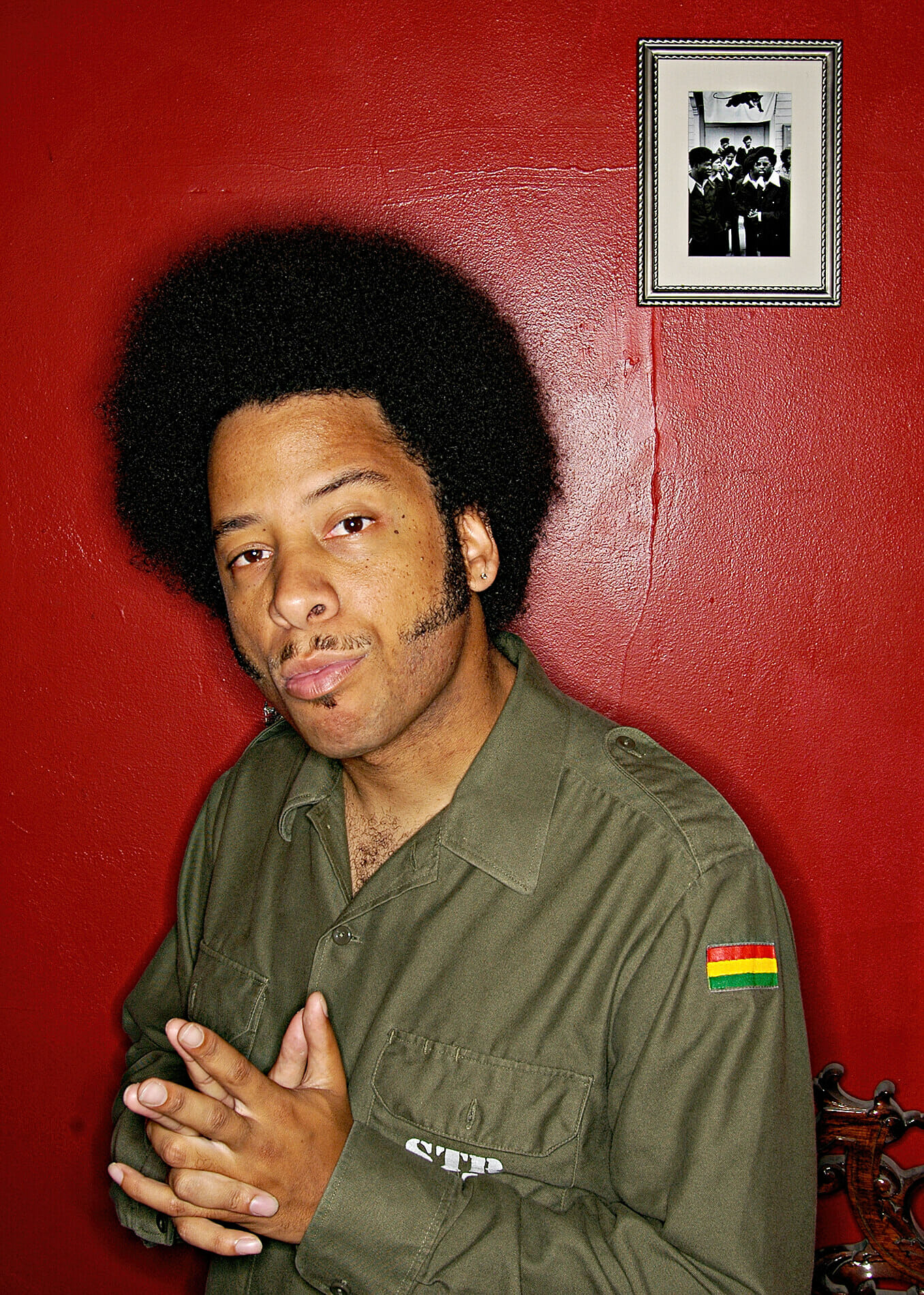 Boots Riley with Black Panthers photo