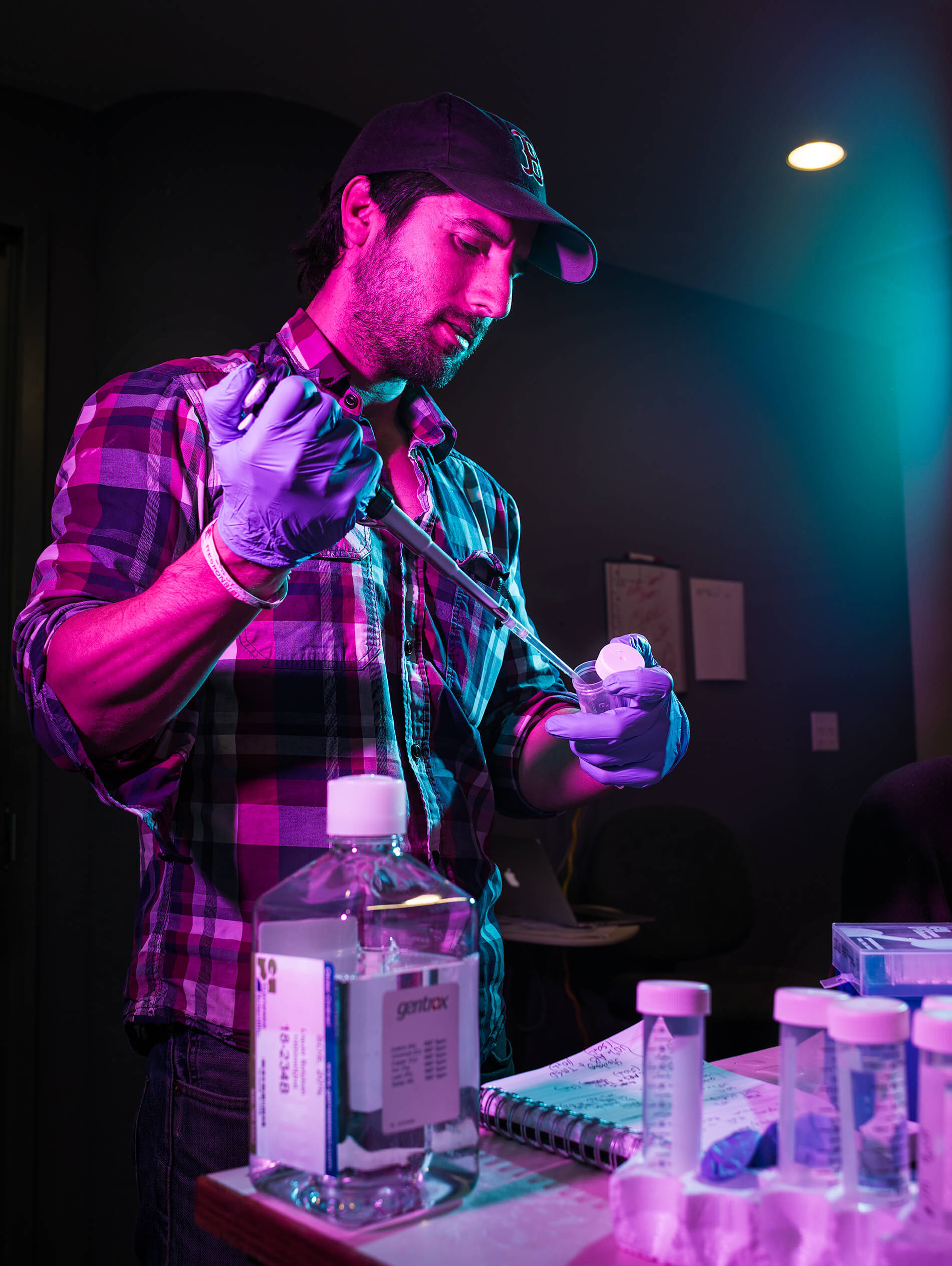 David Andel of Clara Foods working in Indie Bio lab