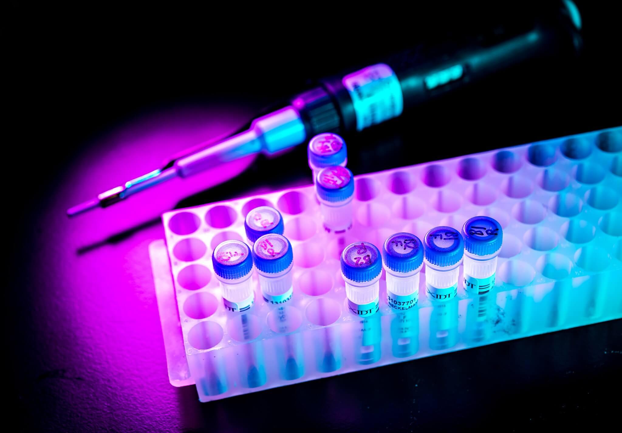 Samples of DNA in lab