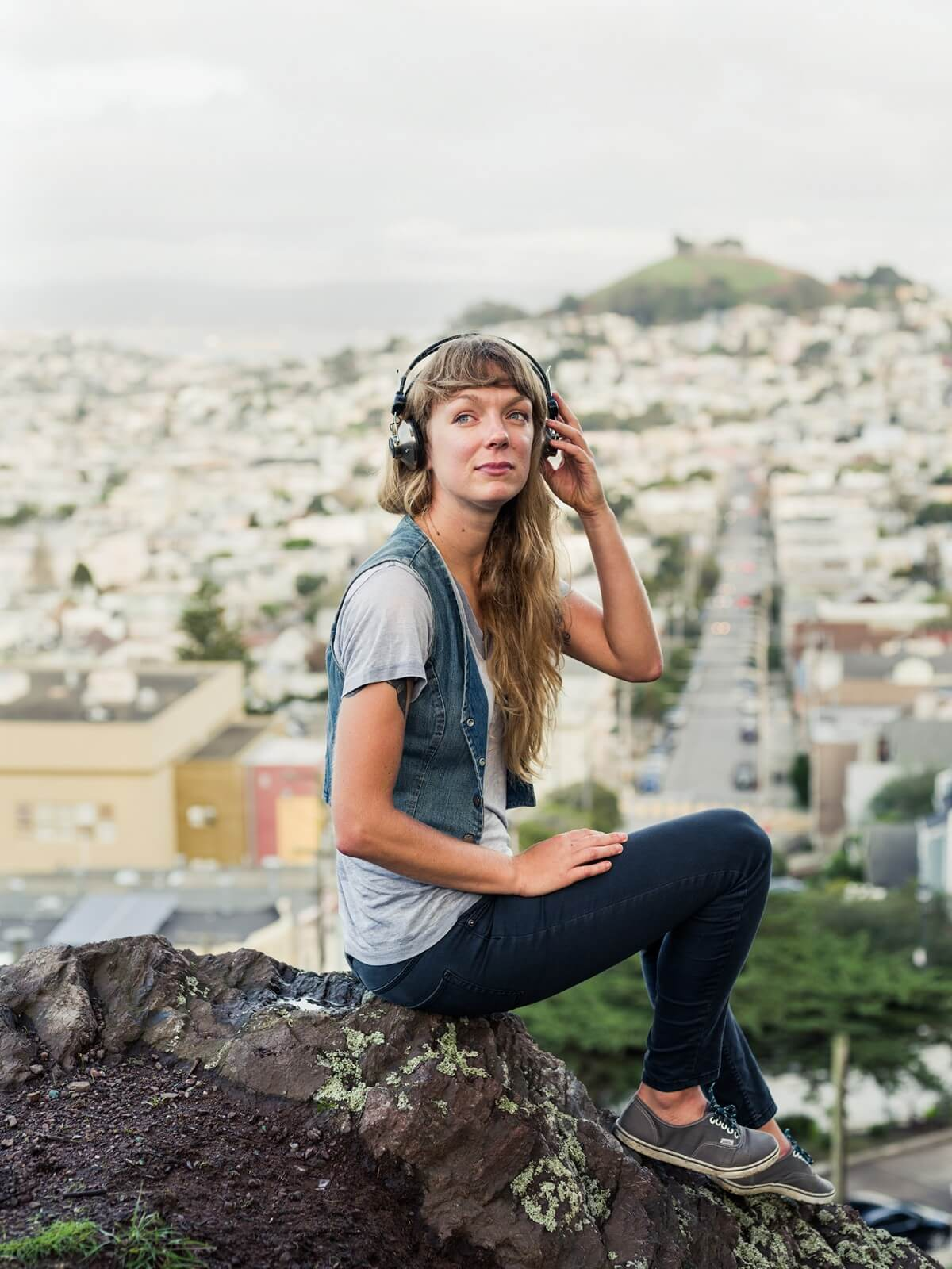 Cyclist and Heart of Gold DJ Erica Schwanke in San Francisco.
