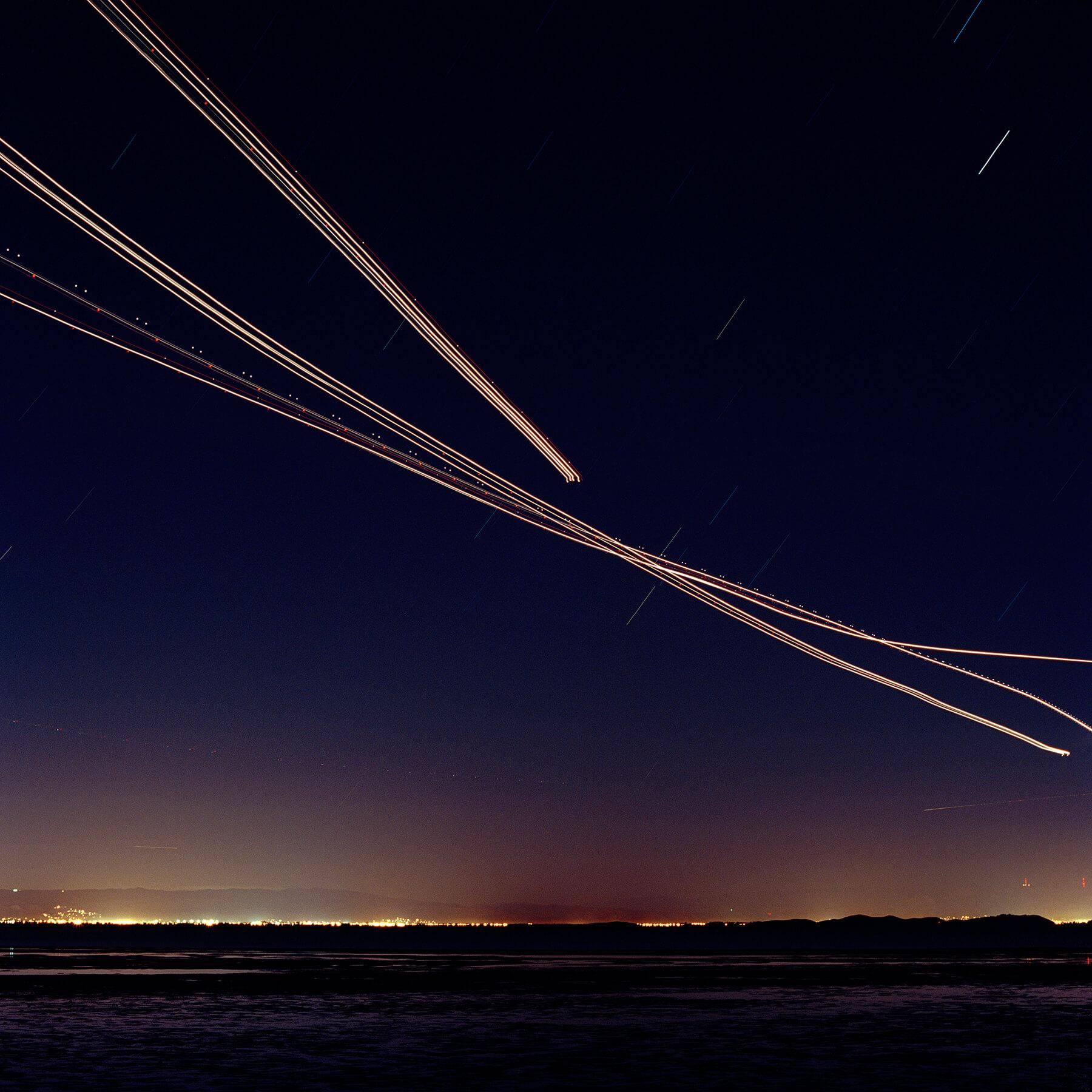 Light streaks at night