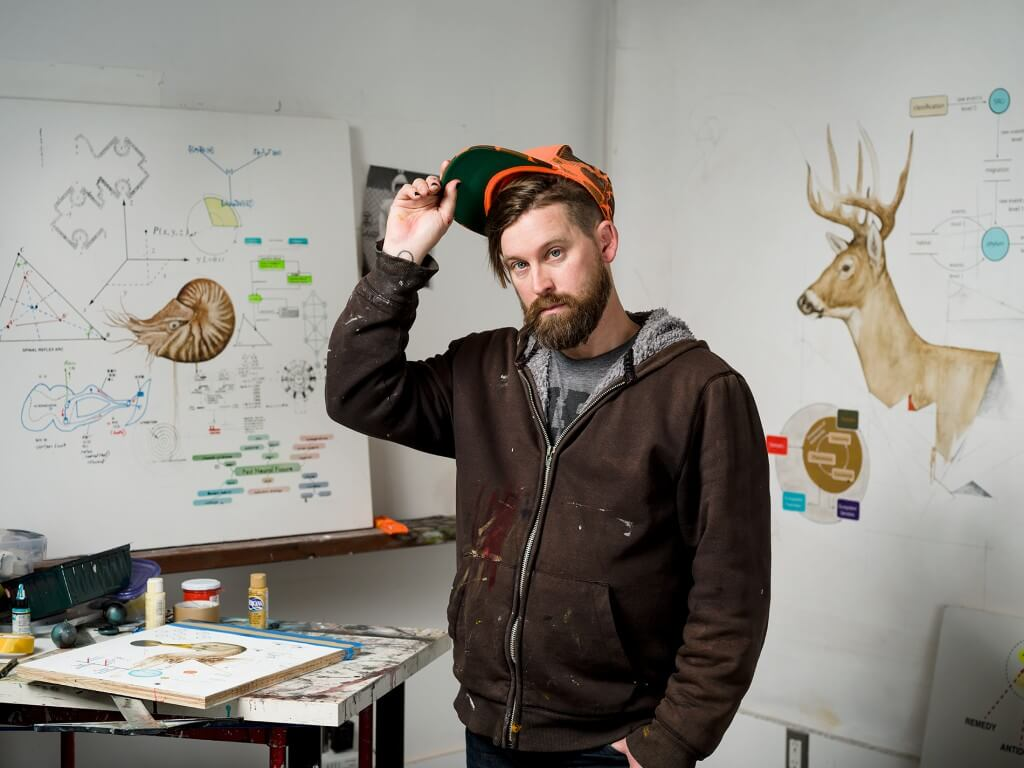 Artist Kevin Earl Taylor in his studio