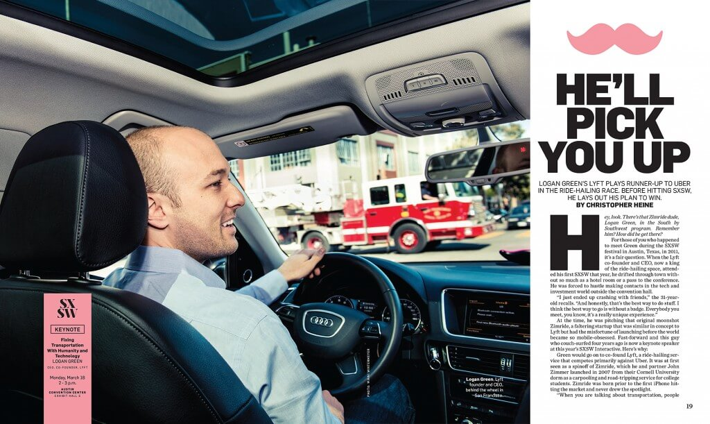 Logan Green driving Lyft for Adweek cover story