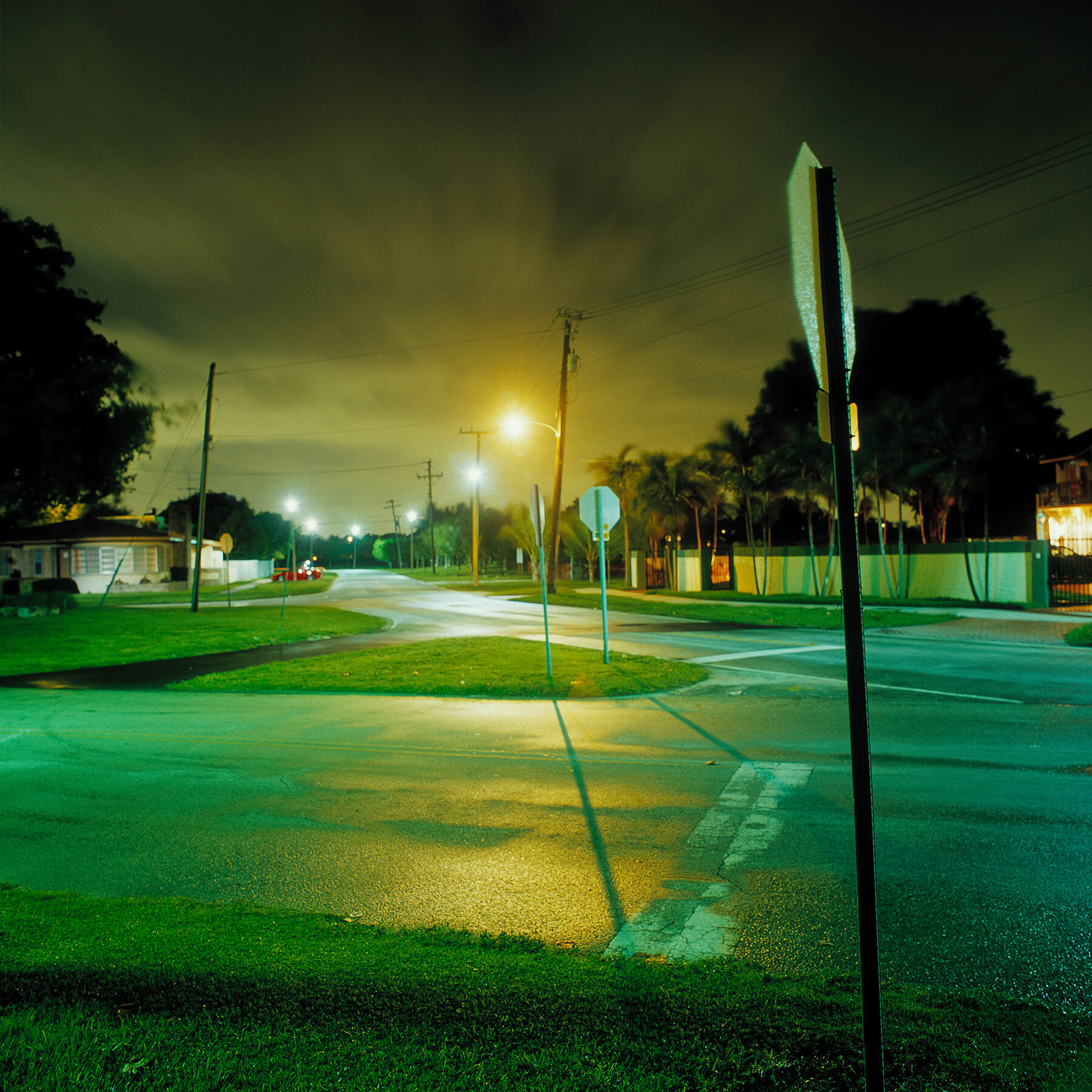 South Beach Florida intersection after summer storm at night