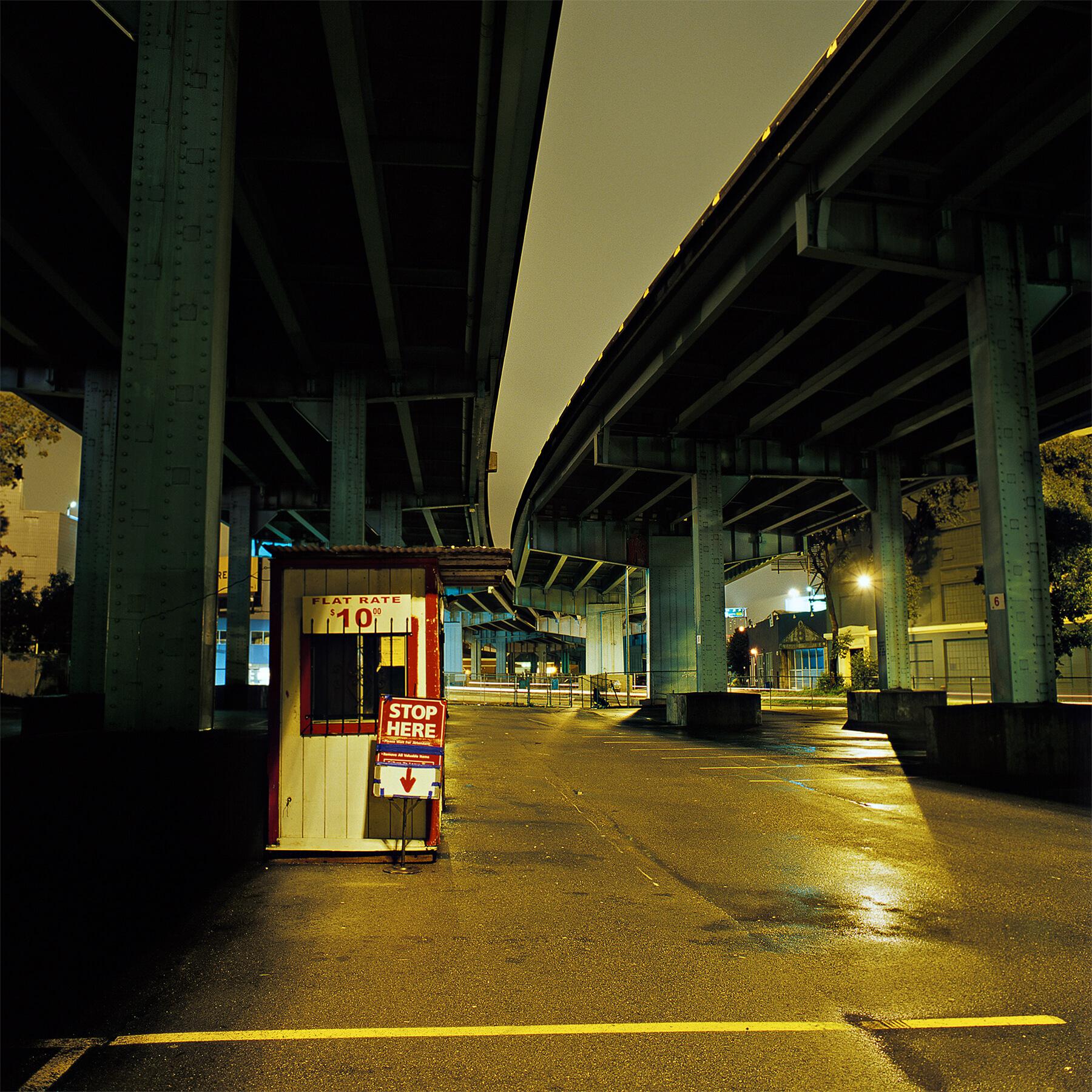 San Francisco parking lot at night