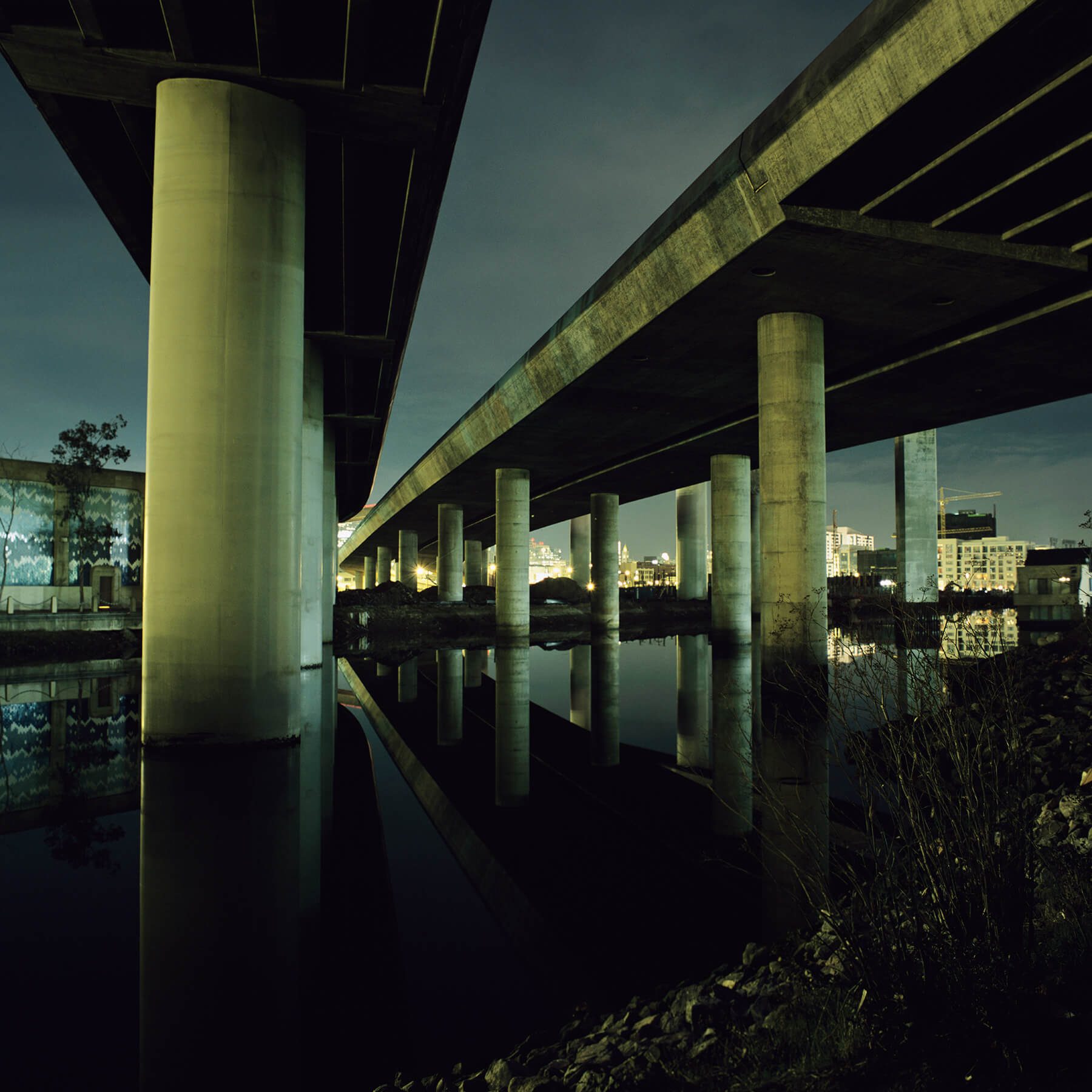 Underneath 280 freeway at night