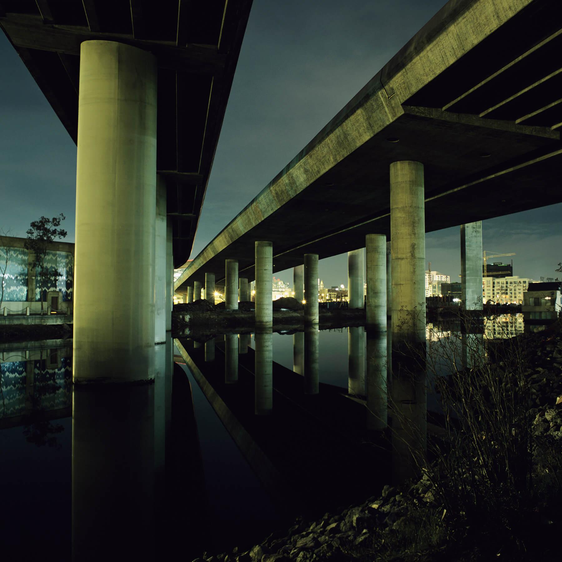 Underneath 280 freeway at night