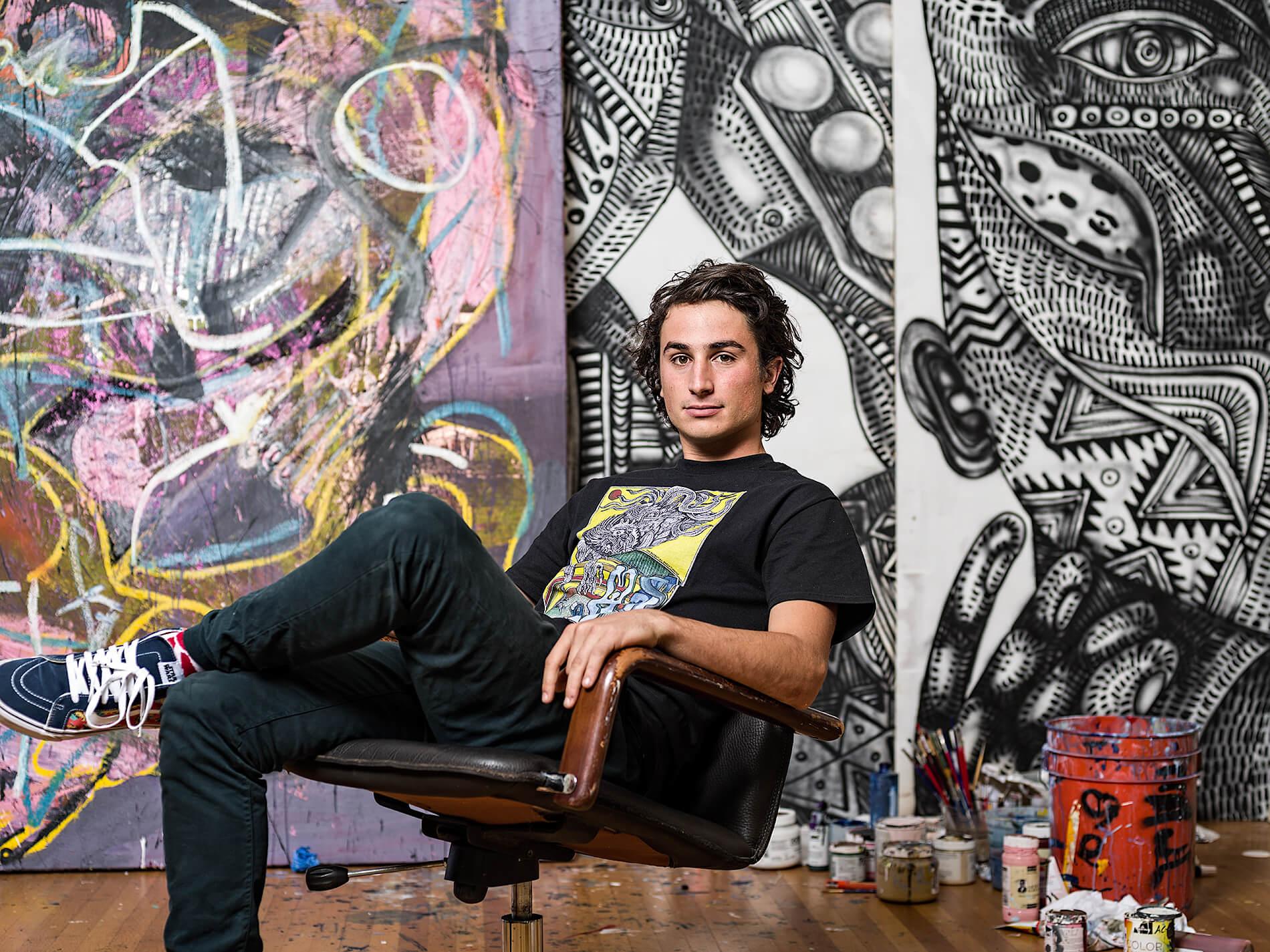 Artist Zio Ziegler in his studio