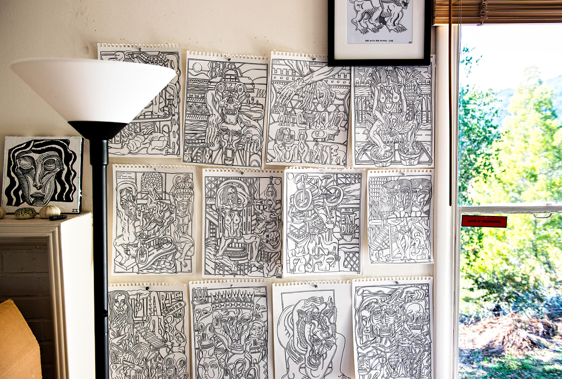 Zio Ziegler sketches on wall