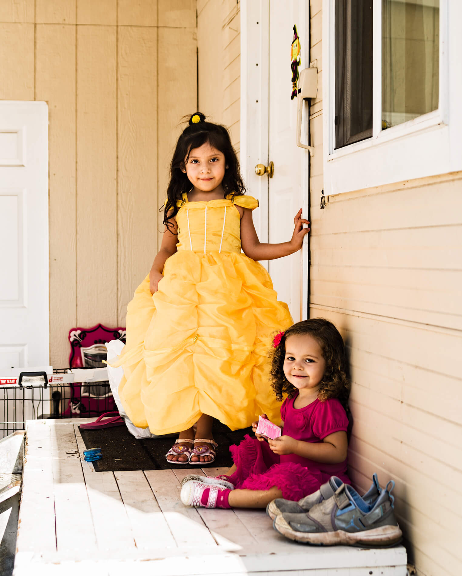 Two young girls dressed up