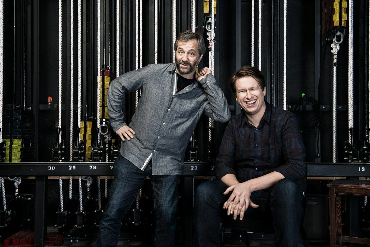 Judd Apatow and Pete Holmes backstage at the Herbst Theatre in San Francisco