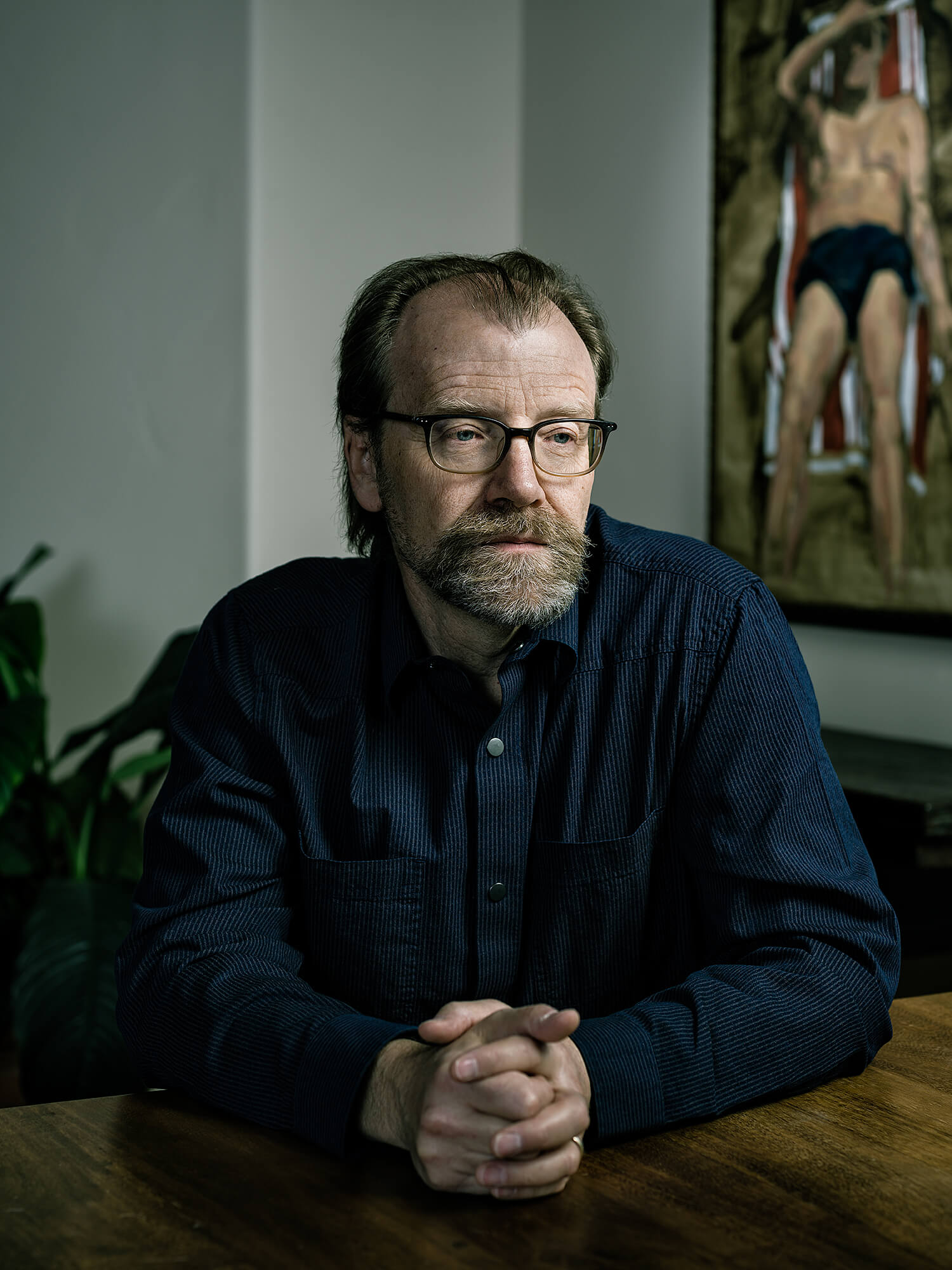 George Saunders with painting