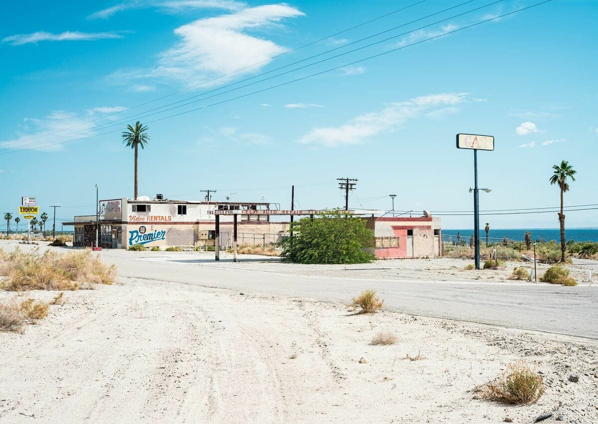 Abandoned buildings in North Shore, CA at the Salton Sea.