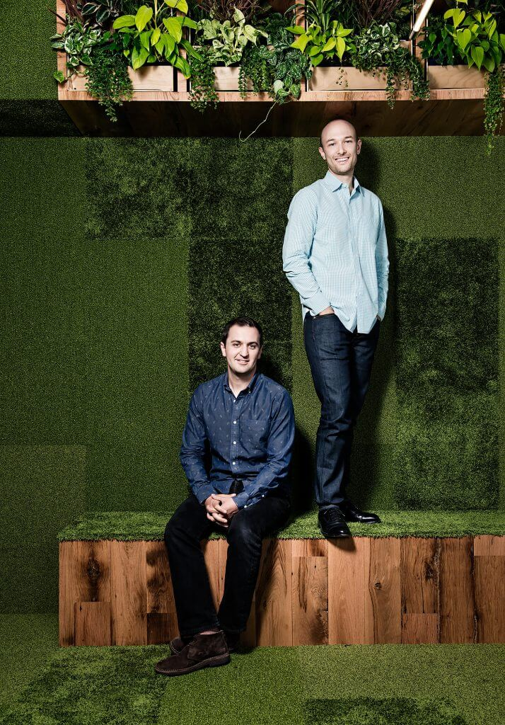 Portrait of Lyft founders John Zimmer and Logan Green.