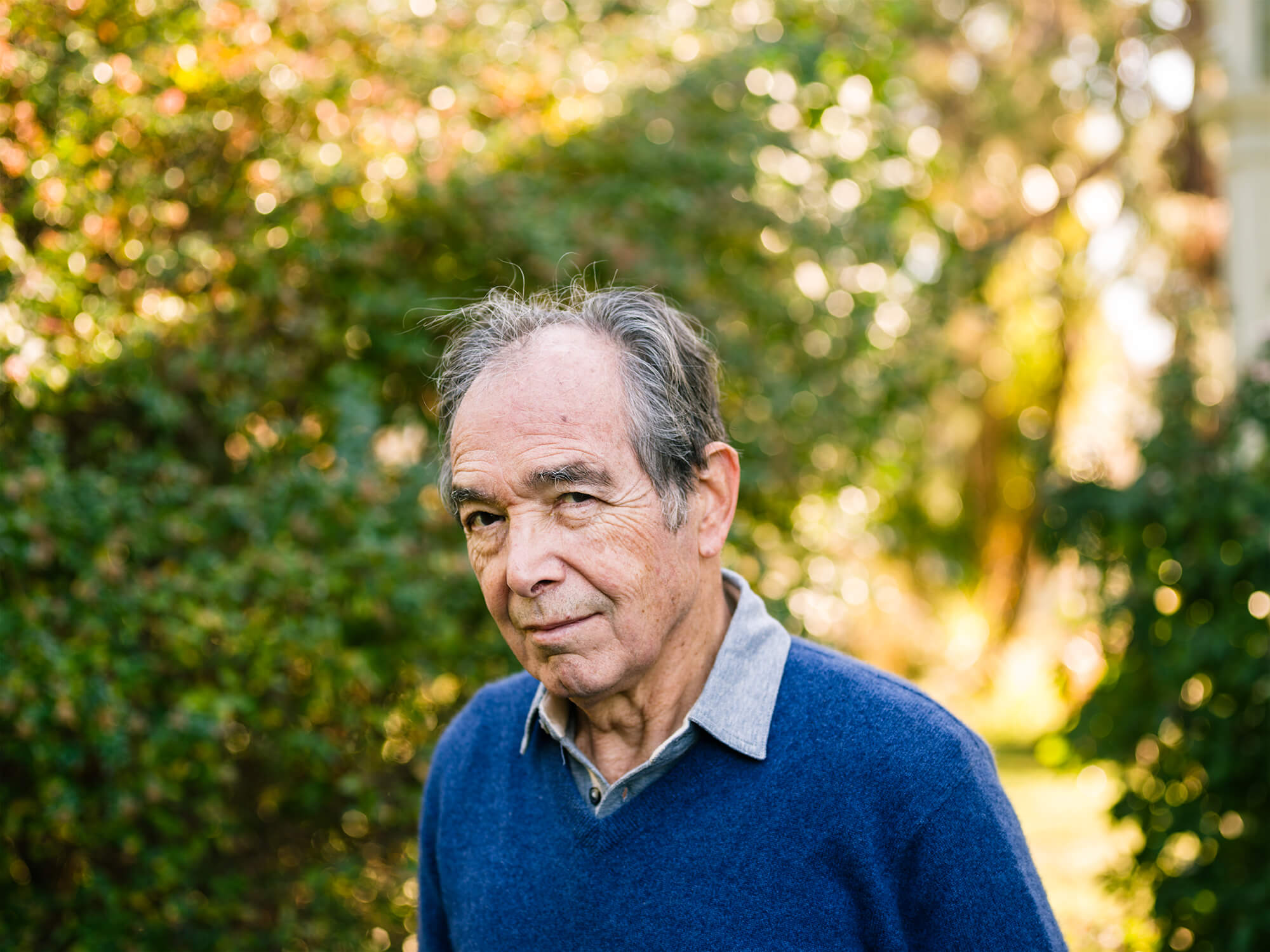 Portrait of author Martin Cruz Smith outside his home in San Rafael, CA
