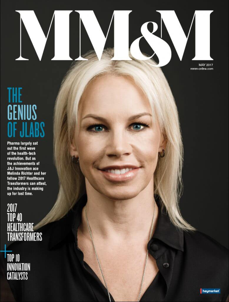 MM&M magazine cover with Melinda Richter of Jlabs