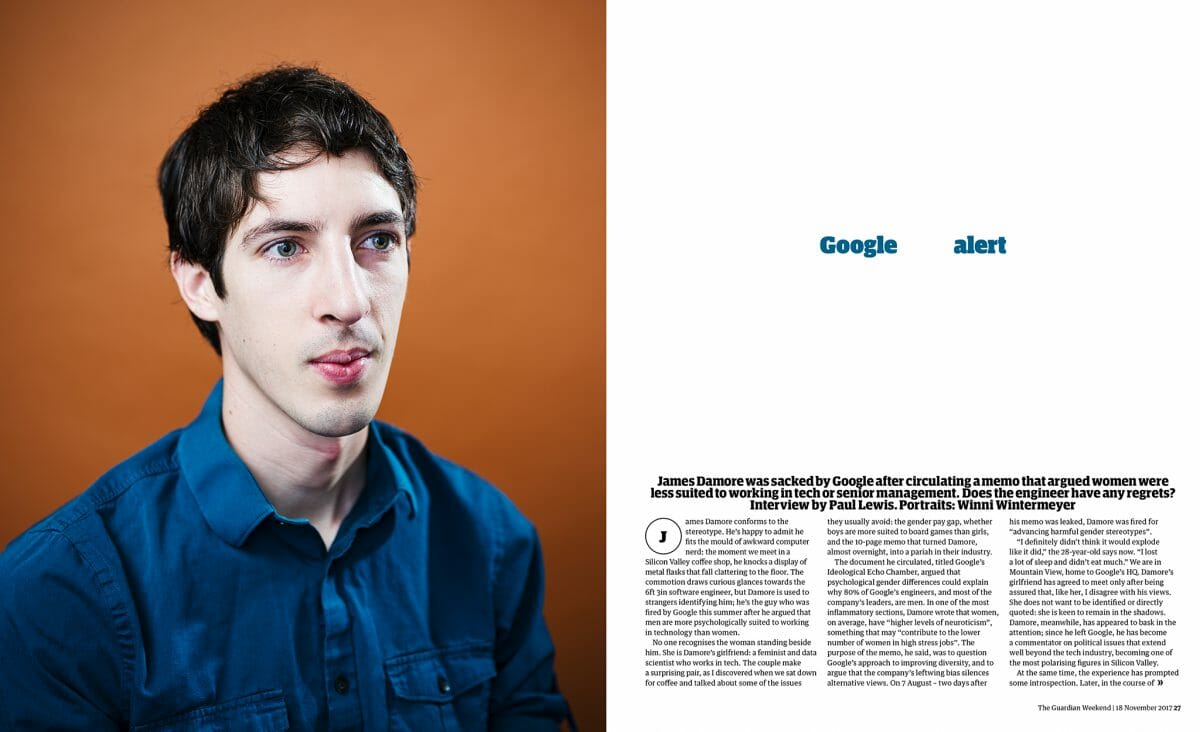 James Damore Guardian Weekend story
