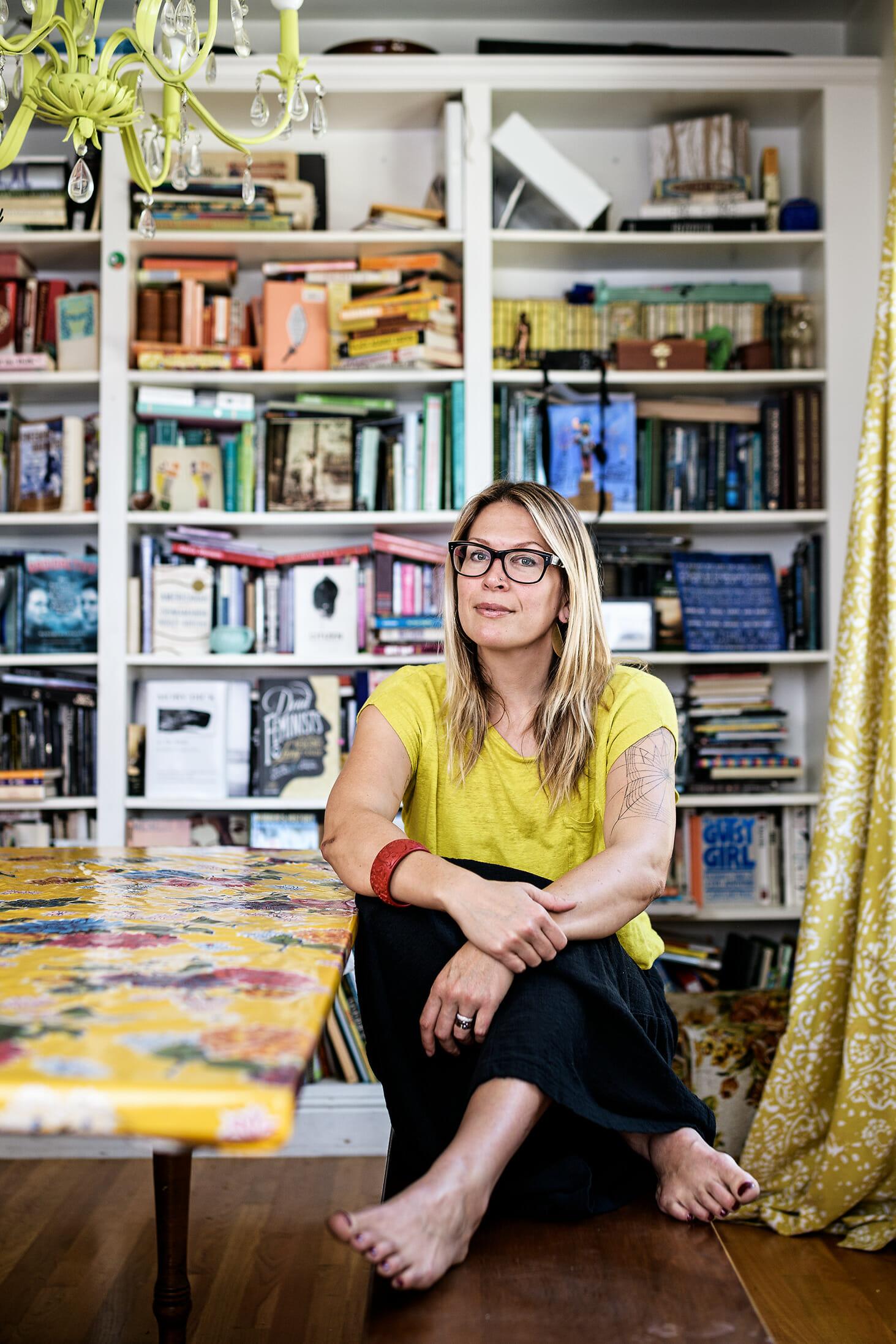 Portrait of writer Kate Schatz at home