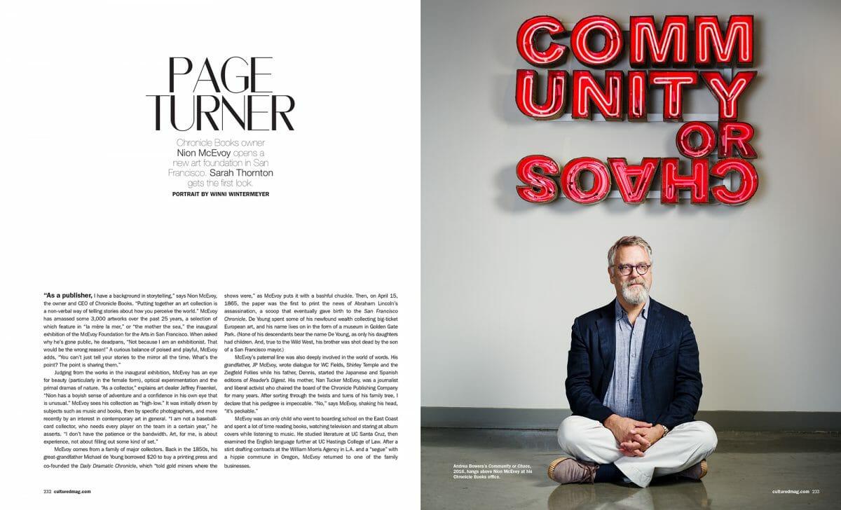 Portrait of Nion McEvoy in Cultured magazine