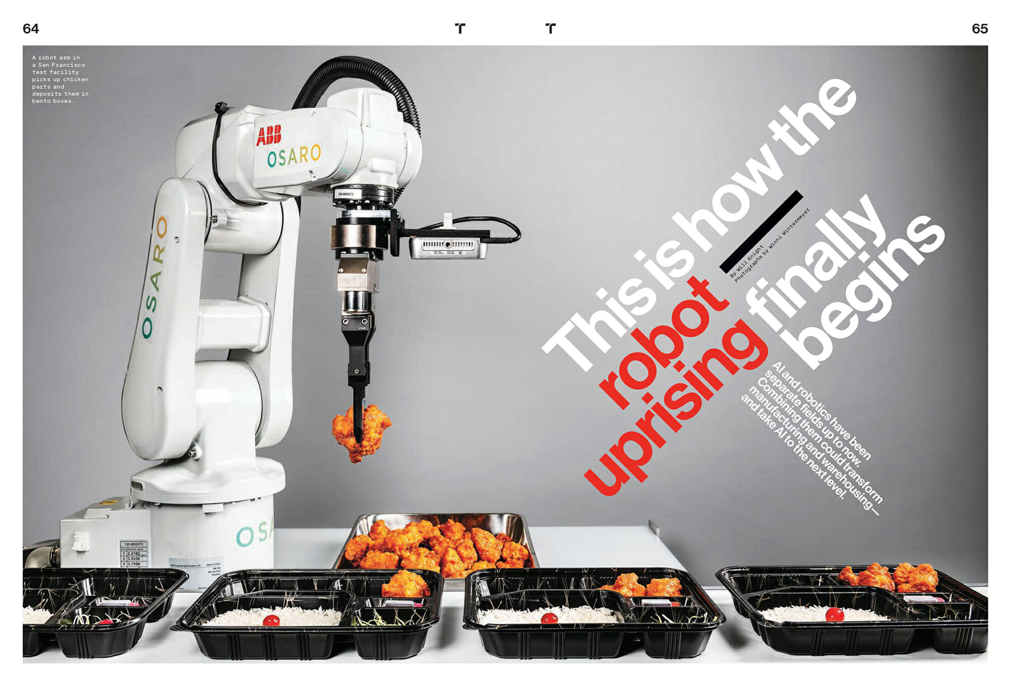 Robot arm serving chicken nugget