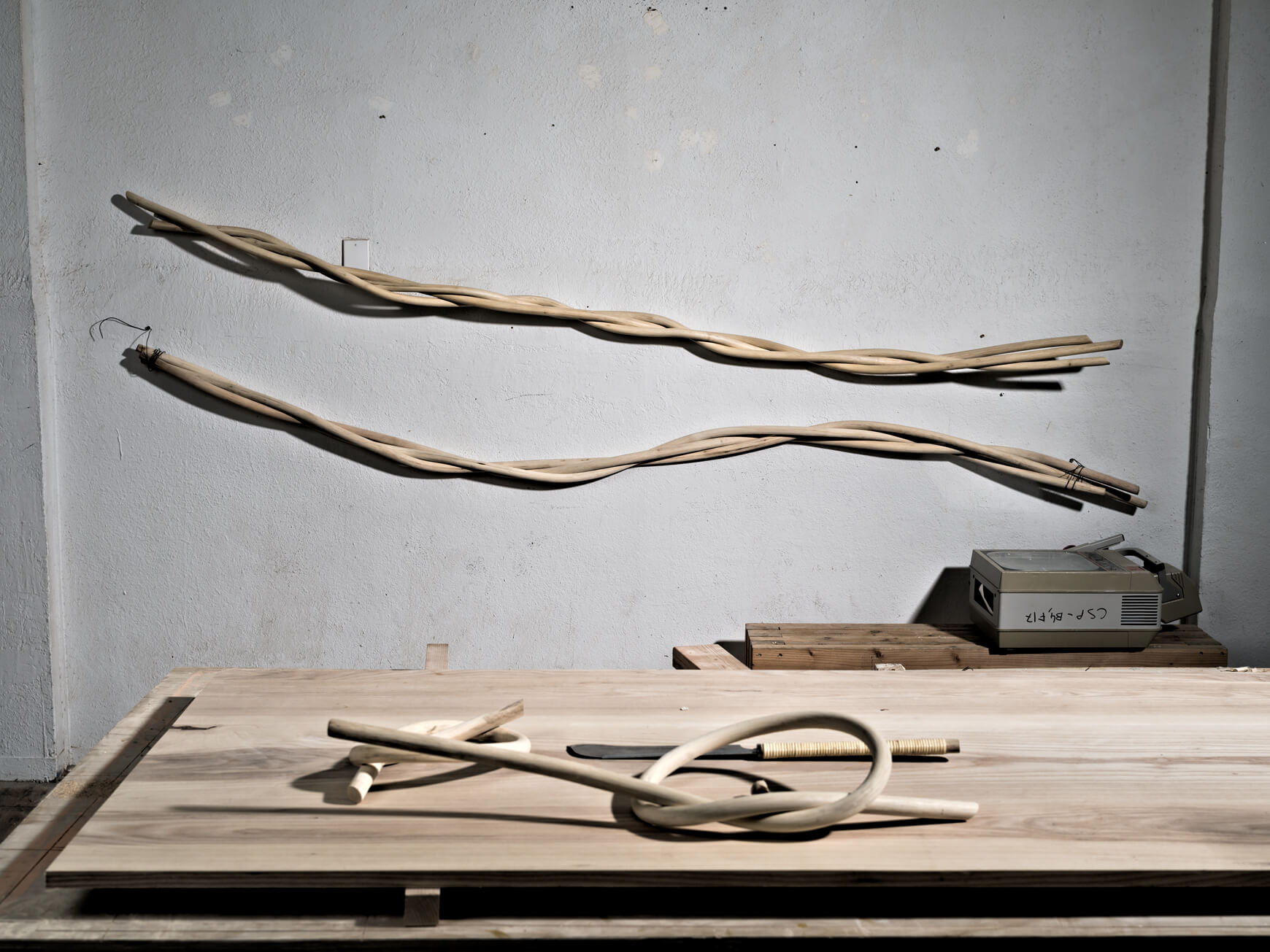 Rattan art on display at Katie Gong's studio