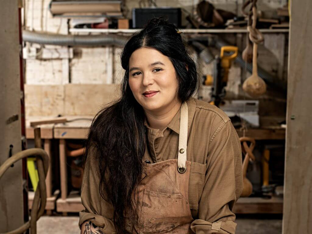 Portrait of artist Katie Gong in her studio