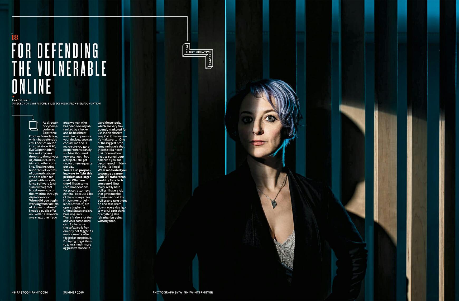 Eva Galperin feature in Fast Company magazine