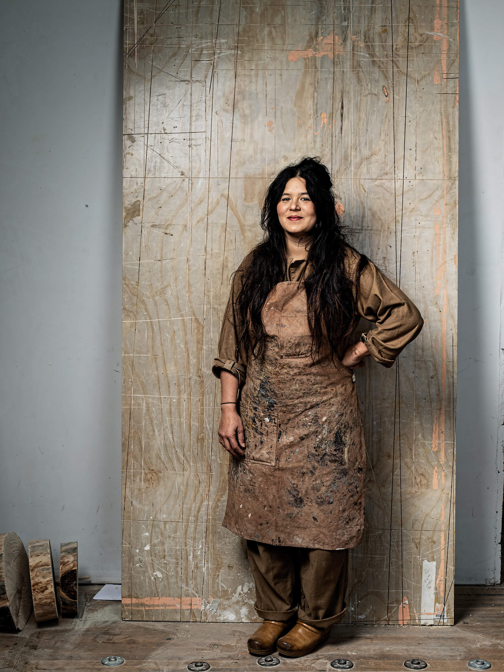 Portrait of artist Katie Gong in her studio