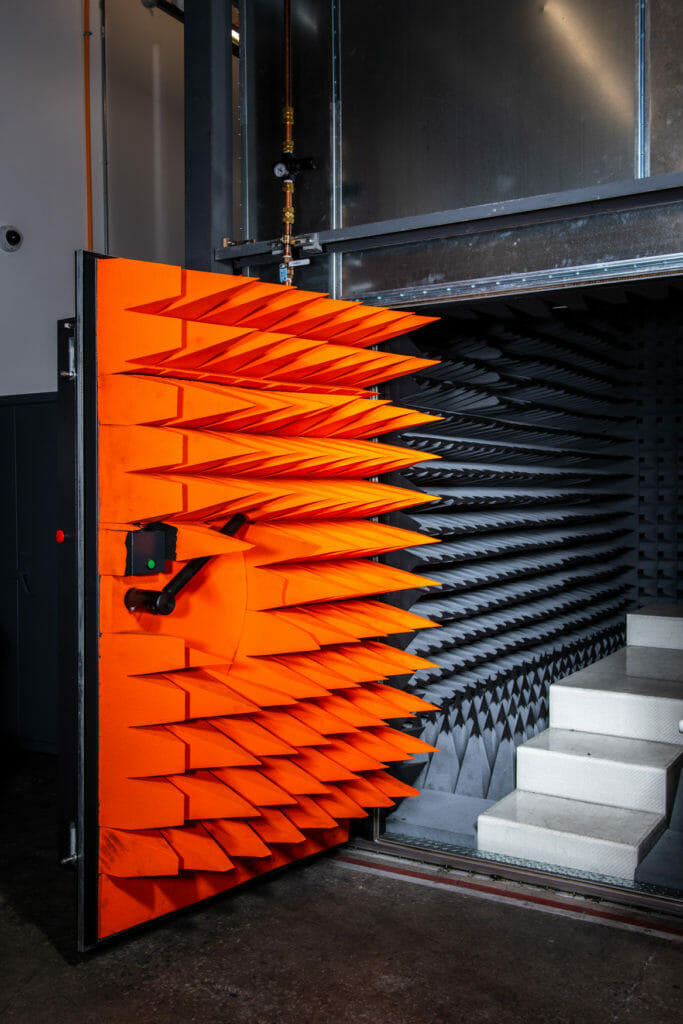 The entrance to an anechoic chamber at the Facebook Connectivity Lab in Fremont, CA.