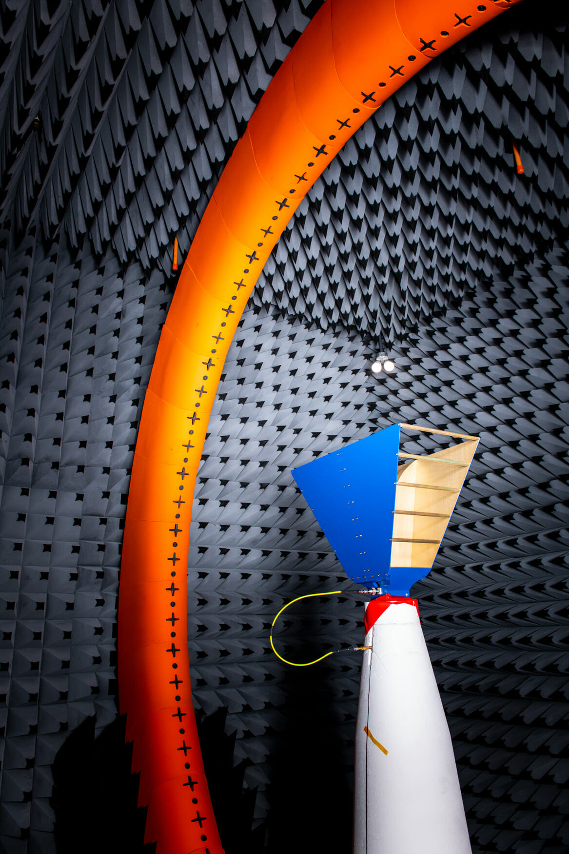 The inside of an anechoic chamber at the Facebook Connectivity Lab in Fremont, CA.