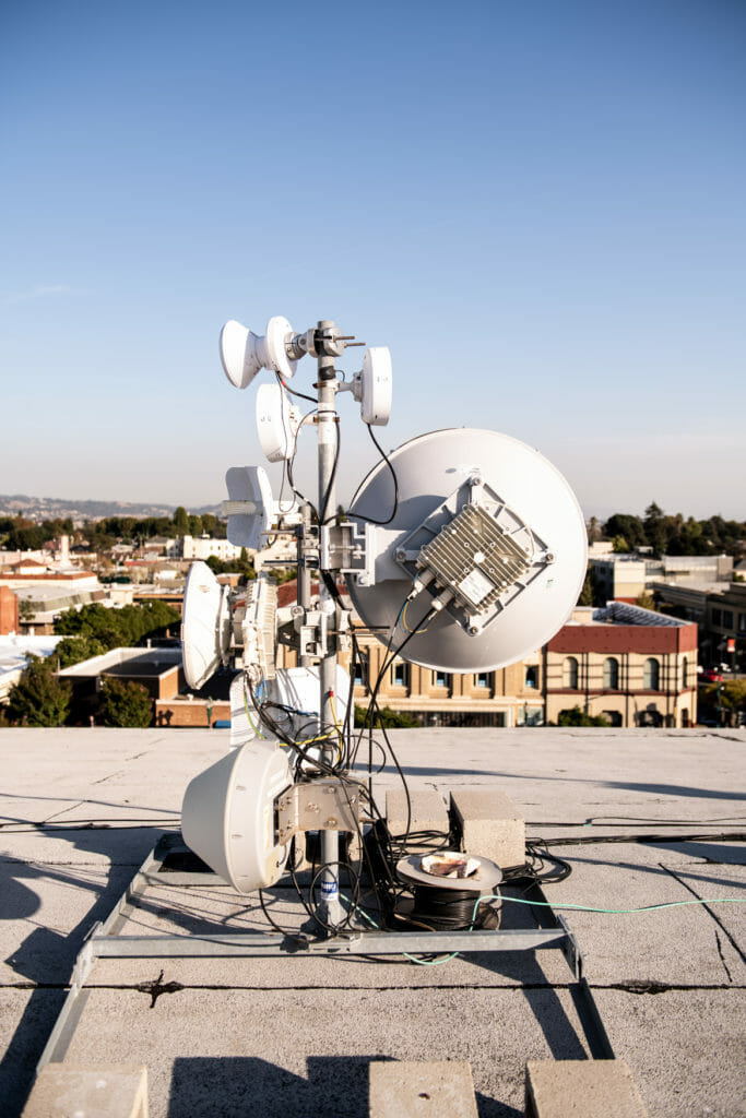 Antennas installed on the roof of the Alameda Theatre by Common Networks.