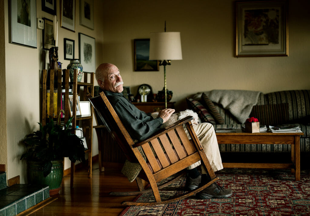 Portrait of author Tobias Wolff in his home in Stanford.