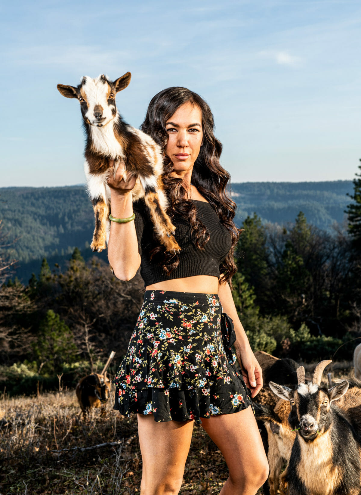 Doris Molakides with goat.