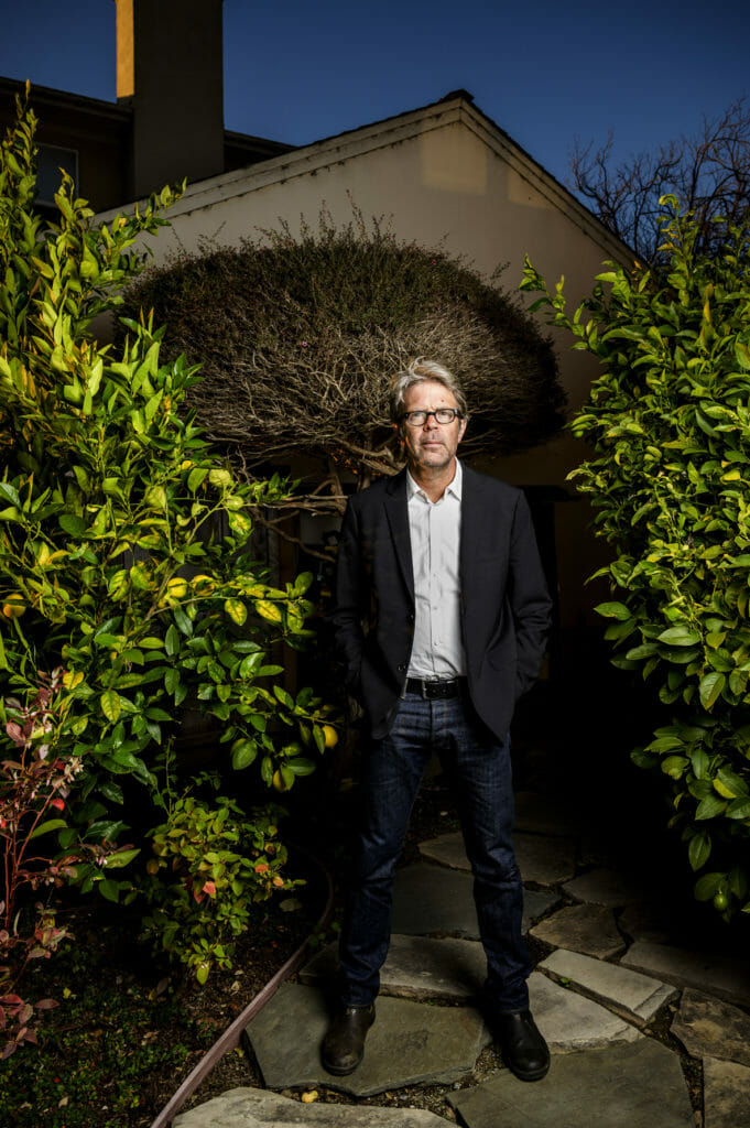 Writer Jonathan Franzen in the backyard of his home in Santa Cruz, California, USA.