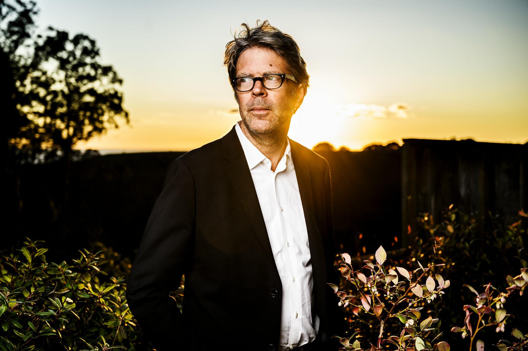 Writer Jonathan Franzen in the backyard of his home in Santa Cruz, California, USA.