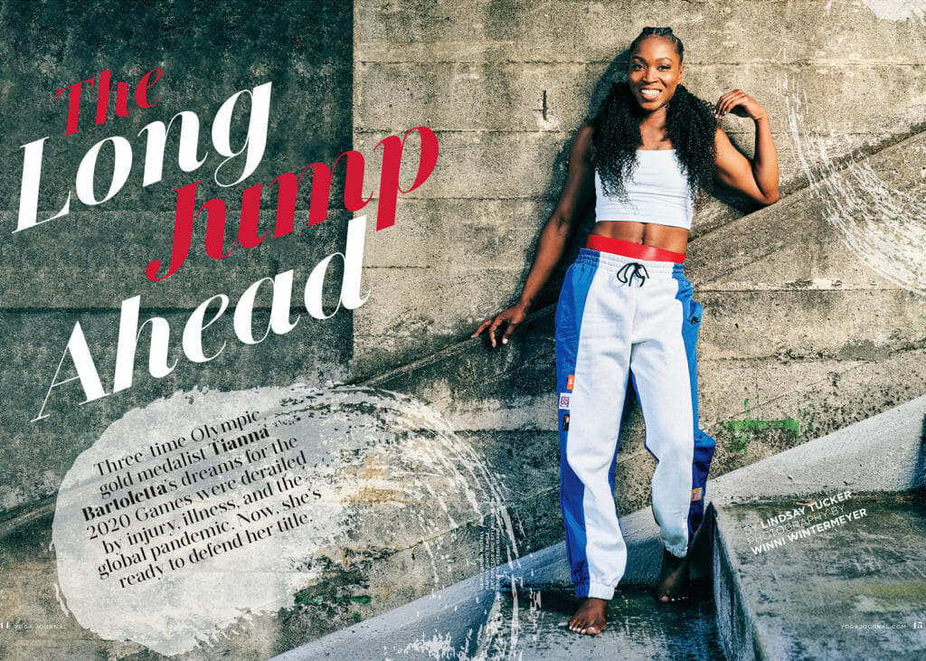 Tianna Bartoletta portrait in Yoga Journal
