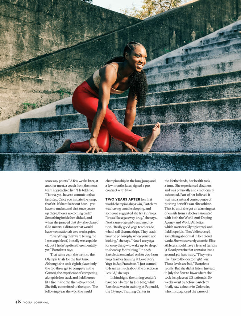 Tianna Bartoletta Yoga Journal spread