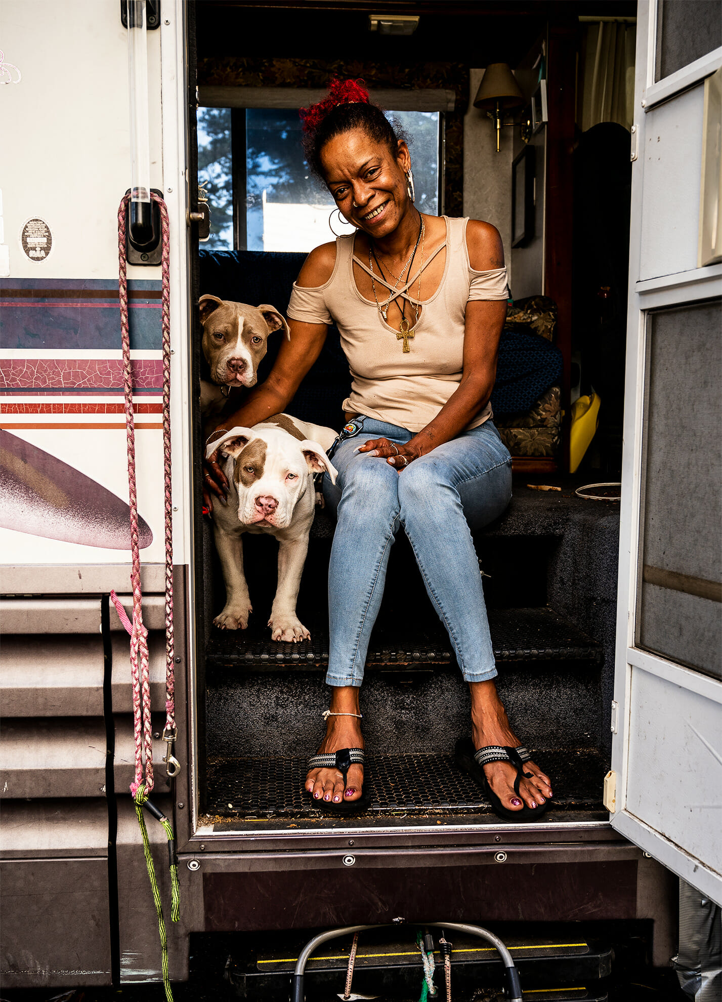 Jennifer Evans and dogs in motorhome